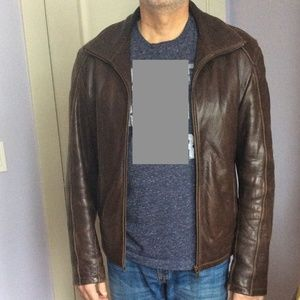 Danier Brown Leather Jacket Men's Small Thinsulate